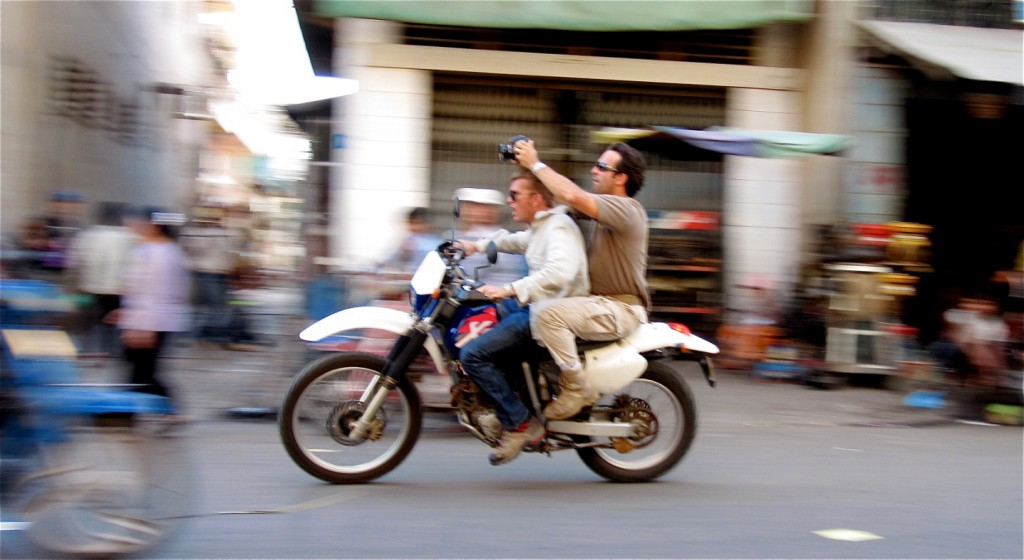 Directors Scott Waugh and Mouse McCoy in the streets of Cambodia