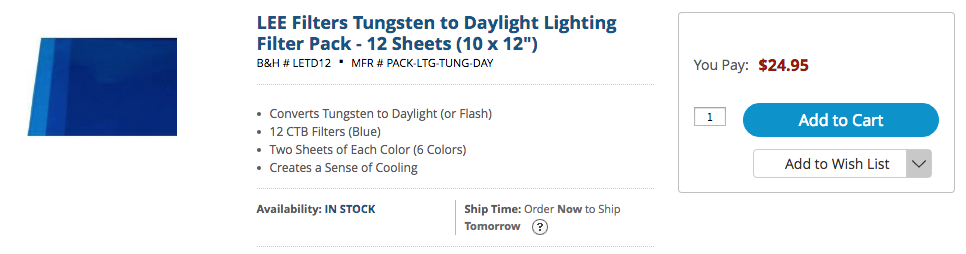 lee filters tungsten to daylight lighting filter pack
